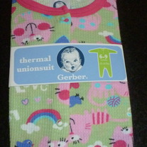Green/Pink Thermal PJ's-NEW-Gerber Size 6-9 Months
