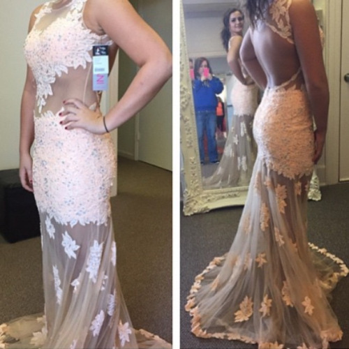 White lace prom dresses, chiffon prom dress, chiffon prom dress ...