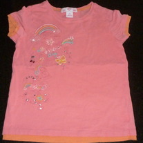 Pink Short Sleeve Shirt with Beads/Rainbows-Gap Size Small (6/7)