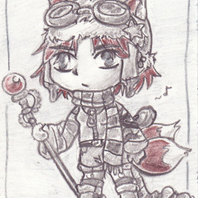 Aceo foxy steampunk goggle girl- original art