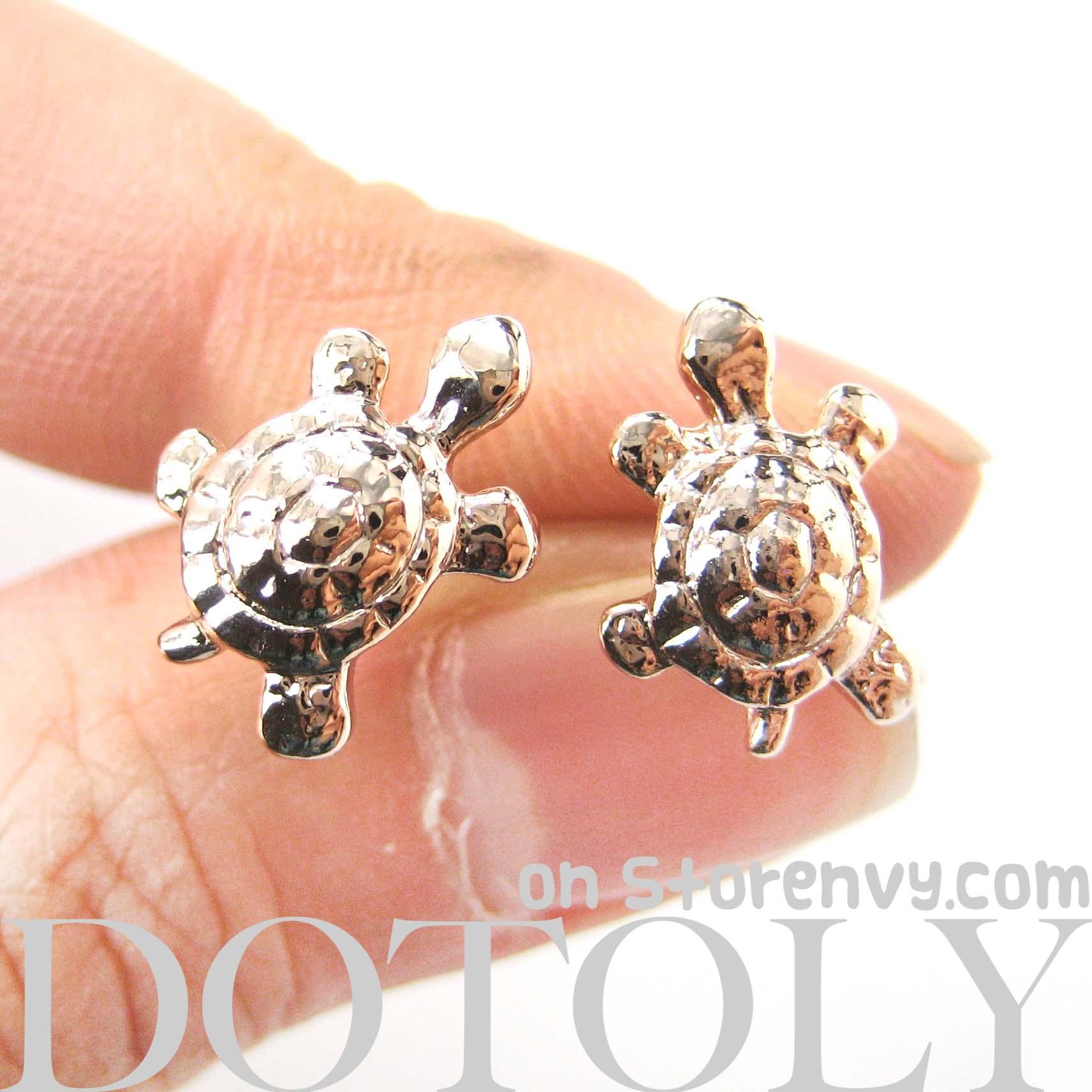 dotoly plus cute turtle tortoise sea animal stud earrings in rose