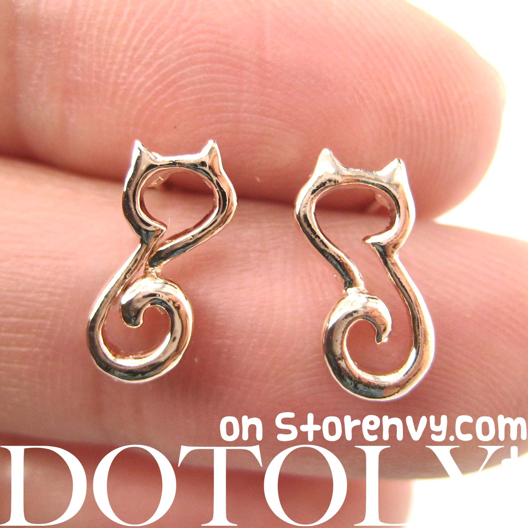 Dotoly Plus | Cute Kitty cat Animal Outline Stud Earrings in Rose ...