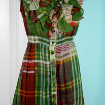 Plaid Ruffle Chiffon Dress
