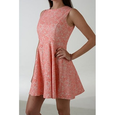 Pink vintage wallpaper print dress