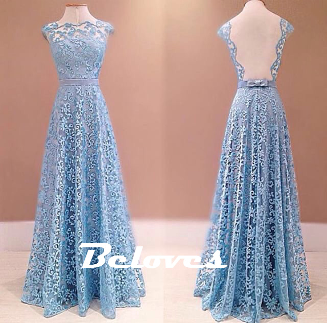 Light Blue Lace Floor Length Evening Gown With Open Back · Beloves ...