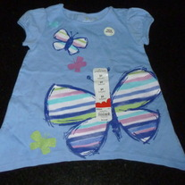 Light Blue Short Sleeve Babydoll Shirt with Butterflies-NEW-Jumping Beans Size 2T