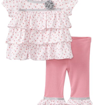 Hartstrings Baby Ruffled Knit Top & Pant Set- Pink Dot