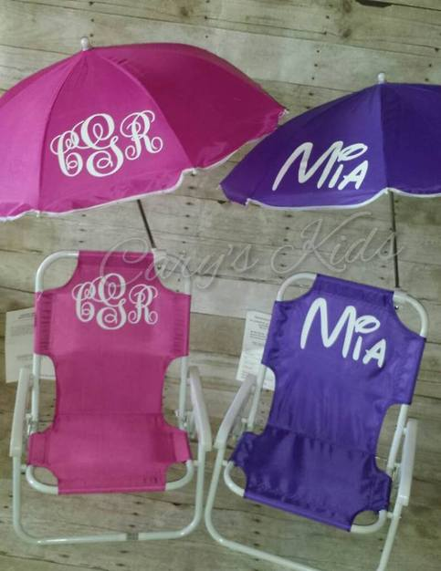 Toddler Childrens Beach Chair and Umbrella Monogrammed ...