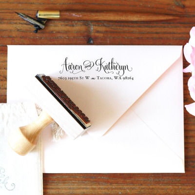 Custom calligraphy address stamp -- hand calligraphy and type single line -- vintage reserve style