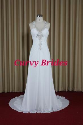 Plus size beach destination wedding dress t bar back for Destination plus size wedding dresses