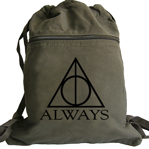 always harry potter backpack deathly hallows drawstring. Black Bedroom Furniture Sets. Home Design Ideas