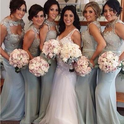 Sexy bridesmaid dress,mermaid bridesmaid dresses,lace appliques ...