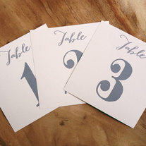 Table Numbers for Wedding Seating, Grey and Cream, Modern