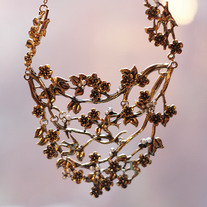 Gold Birds in the Trees Collar Necklace