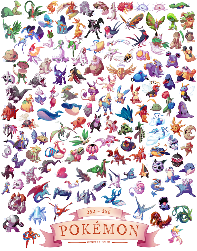 generation iii pokemon 11x14 print