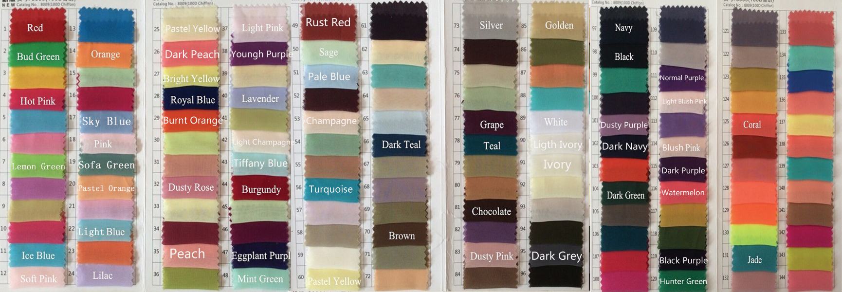 Bridesmaid Dress Colour Samples