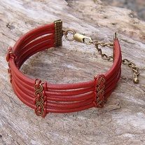 Red Leather and Antique Gold Cuff Bracelet