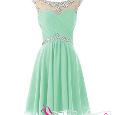 Short Prom Dresses Sexy Mint Green Homecoming Dress For Junior ...