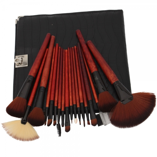 Animal 18pcs Hair   Brown Brush set Set brush Cosmetic  Beauty natural bristle Makeup makeup Natural ·