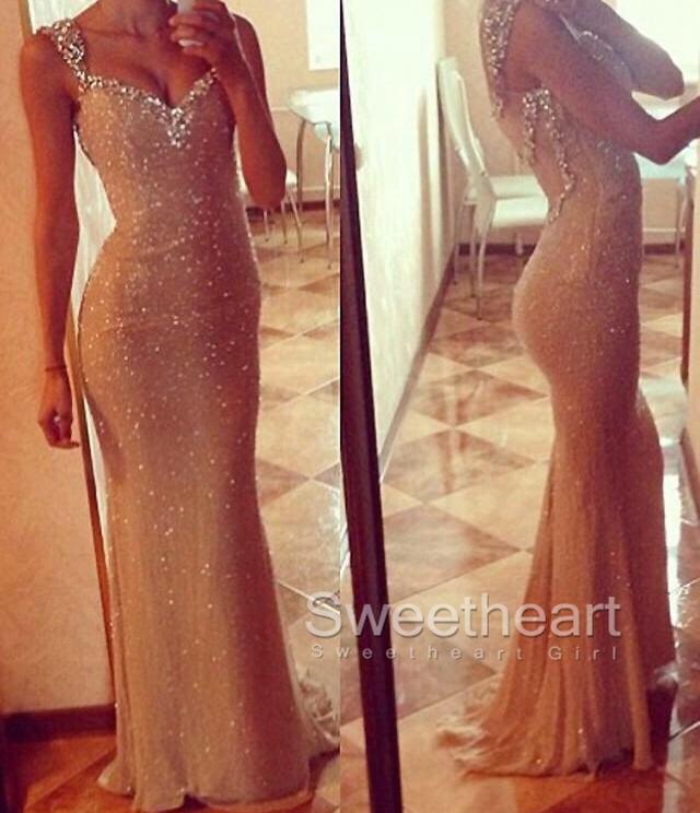 Sweetheart Girl | Sweetheart neckline Sequin Long Prom Dresses ...