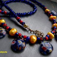 Water & Blossoms - freshwater pearl & cobalt millifiore floral glass necklace - Thumbnail 1