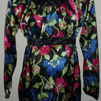 Black/Pink/Green/Blue Silk Floral Long Sleeve Shirt-Motherhood Maternity Size Large  CL413