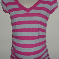 Gray/Pink Short Sleeve Shirt-Inspire Maternity Size Small  CL413
