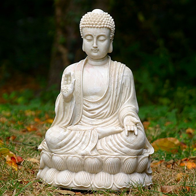 sitting meditating shakyamuni buddha white stone finish zen garden statue 4rissa online. Black Bedroom Furniture Sets. Home Design Ideas