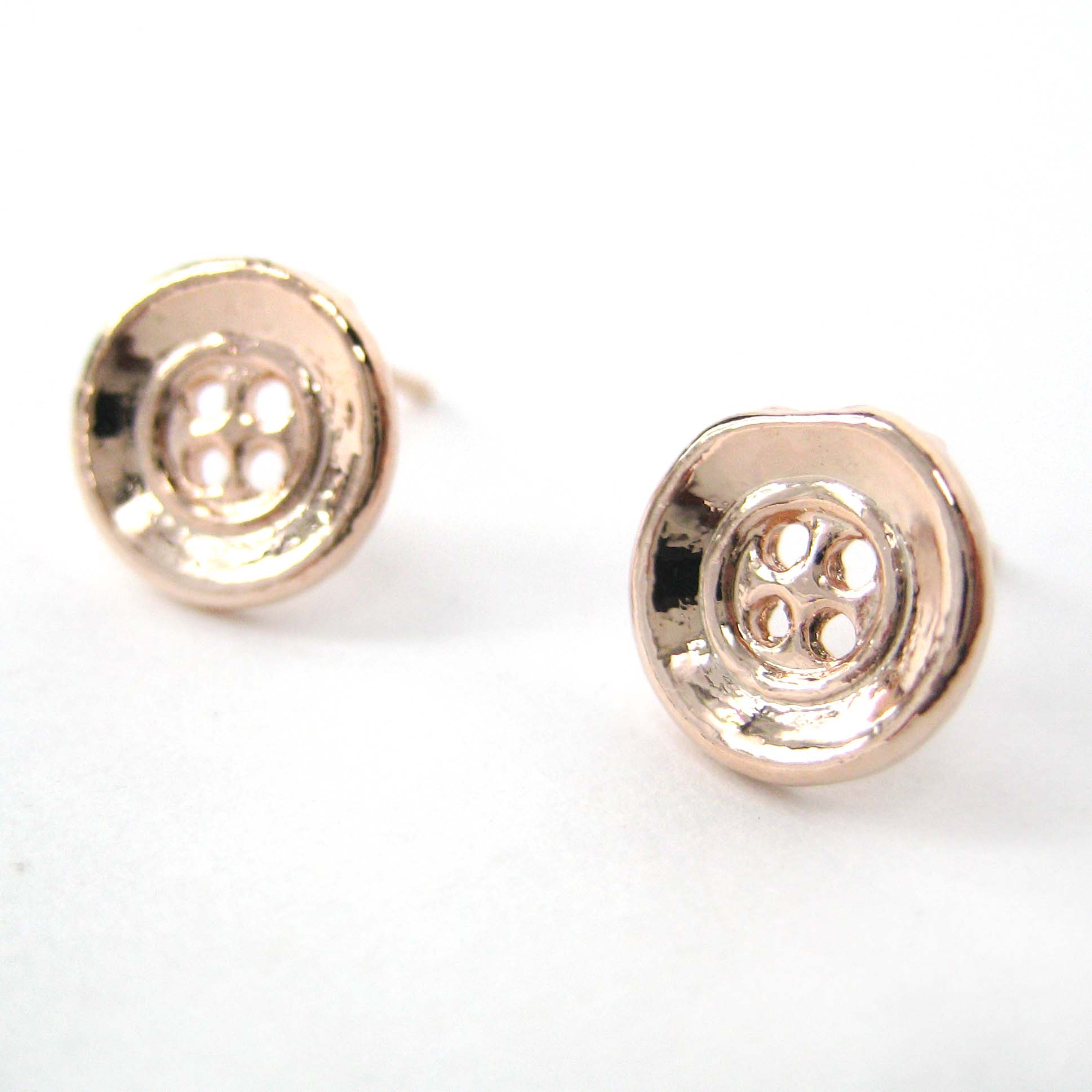 set gold earring stud silver rose round