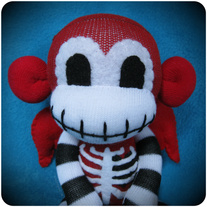 Winged Skeleton Sock Monkey - Red