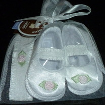 White Satin Shoes with Matching Headband-NEW-Child of Mine Size Newborn