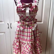 M-L pink yellow off-white tartan sleeveless bow lace rockabilly dress