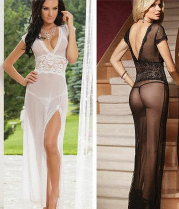 plus size lace Transparent Net Yarn erotic costumes underwear dress ...
