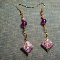 Purple Mosaic Turquoise Dangle Earrings