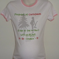 Pink Pregnant at Christmas Shirt-HYP Size Medium  GS513