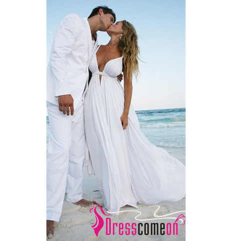 A Line Deep V Neck Beach Wedding Dresses Spaghetti Straps White ...