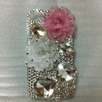 New Bling Big White And Pink Flowers With Big Crystal Bow Case For iPhone 4