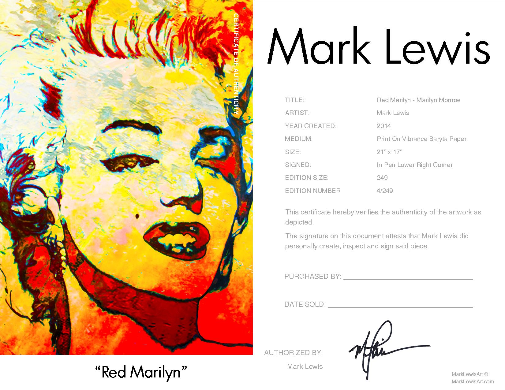 MARILYN MONROE - RED MARILYN - LIMITED EDITION PRINT HAND SIGNED BY ...