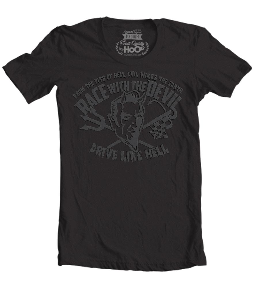 Men 39 s race with the devil vintage puff print t shirt for Marathon t shirt printing