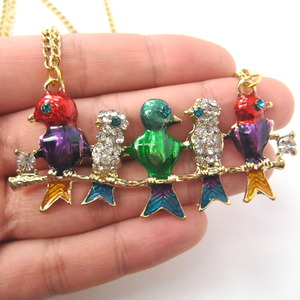 Colorful Birds on a Branch Animal Pendant Necklace