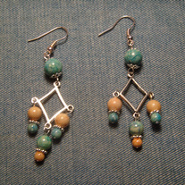 Green & Tan Sandstone with Tibetian Silver Triple Dangle Earrings