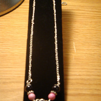 Black & Pink Sandstone with Tibetian Silver on Silver- Plated Necklace with Lobsterclaw Clasp