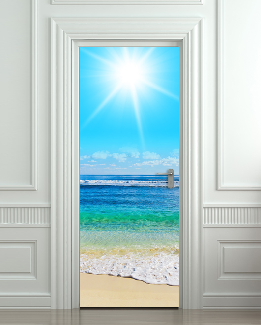 door sticker beach scene sea ocean decole poster pulaton online store powered by storenvy. Black Bedroom Furniture Sets. Home Design Ideas