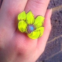 Laser Cut Tropical Flower Ring- Lime