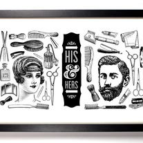 Image of His and Hers Vintage Bathroom Print, Giclee Art Print, 11 x 17 inches