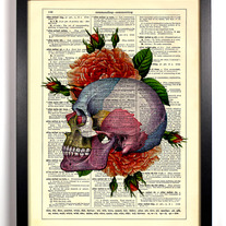 Image of Colorful Skull With Roses, Vintage Dictionary Print, 8 x 10
