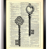 Image of Two Skeleton Keys, Vintage Dictionary Print, 8 x 10