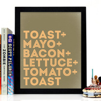 Image of BLT, Bacon Lettuce & Tomato Sandiwch Typography Art Print, 8 x 10 inches