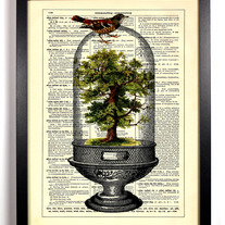 Image of Tree Terrarium With Little Bird, Vintage Dictionary Print, 8 x 10
