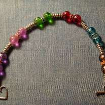 Multi-Color Glass & Tibetan Silver Bracelet (8 inch)